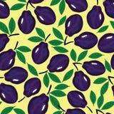 Pruim naadloos patroon, vectorillustratie Royalty-vrije Stock Afbeeldingen