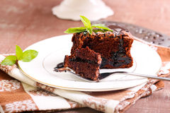 Prune and chocolate torte Royalty Free Stock Image