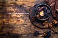 Prune, dried plums fruits Royalty Free Stock Images