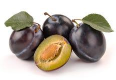 Prune et une moitié et feuilles Image libre de droits