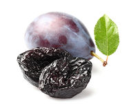 Prune and plum. With leaf Stock Images