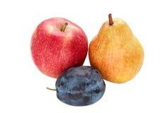 Prune, pomme et poire Photos libres de droits