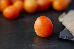 Prune sauvage ou cerise-prune fraîche et mûre sur la surface noire Photos stock