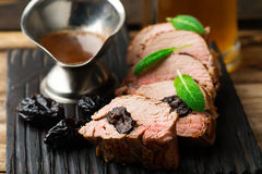 Prune-Stuffed Pork Fillet.selective focus. Prune-Stuffed Pork Fillet. .selective focus Stock Images