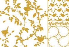 Prunellier et oiseaux, un ensemble de trois modèles sans couture d'or et frontière Illustration courante de vecteur Photo stock