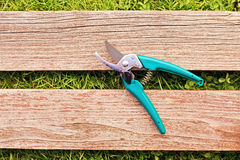 Pruner on wood board Stock Photography
