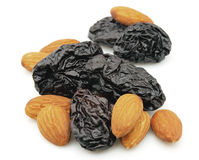 Prunes and almond Stock Images