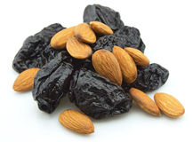 Prunes and almond Stock Photos