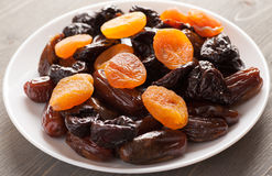 Prunes with dried apricots and dates Royalty Free Stock Photos