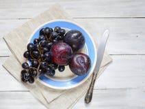 Prunes et raisins d'un plat sur un fond clair images libres de droits