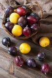 Prunes fraîches dans le panier sur le conseil en bois Photos stock