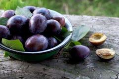 Prunes mûres dans le plat Photo libre de droits