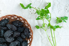 Prunes and parsley Royalty Free Stock Photo