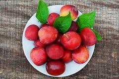 Prunes rouges d'un plat photos stock