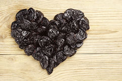 Prunes in the shape of hearts Stock Images
