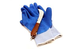 Pruning knife and gloves Royalty Free Stock Images