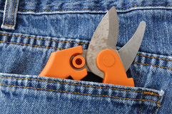 Pruning Shears in Blue Jeans Pocket. Close-up of Pruning Shears in Blue Jeans Pocket Royalty Free Stock Photo