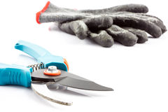 Pruning shears and gardening gloves Stock Photos