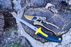 Pruning Shears. Gardening tool, pruining shears used in orchards and gardens Stock Images