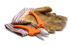 Pruning Shears and Leather Gloves Royalty Free Stock Photo