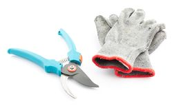 Pruning shears and worn gardening gloves Stock Photos