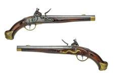 Prussian antik flintlockpistol Arkivfoto
