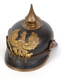 German Great War WW1 Prussian Pickelhaube. A German pickelhaube. This ornate leather and brass helmet was the standard headwear of German troops at the outbreak Royalty Free Stock Photo