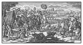 Prussian soldiers camped during the 7 years war in XVIII century Royalty Free Stock Images
