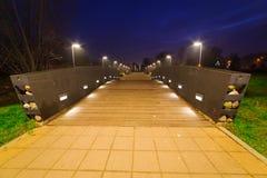 Pruszcz Gdanski at night, Poland. Park pathway in Pruszcz Gdanski at night, Poland Stock Photo