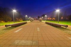 Pruszcz Gdanski at night, Poland. Park pathway in Pruszcz Gdanski at night, Poland Royalty Free Stock Image