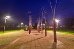 Pruszcz Gdanski at night, Poland. Park pathway in Pruszcz Gdanski at night, Poland Stock Images
