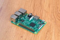 Raspberry Pi 3 Model B. Small single-board computer. Stock Photography