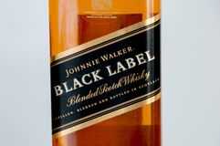 Close-up for label of scotch whisky Johnnie Walker Black Label. Stock Photos