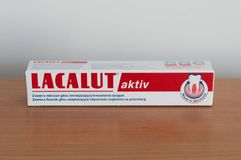 Lacalut Aktiv medical toothpaste. Pruszcz Gdanski, Poland - February 22, 2018: Lacalut Aktiv medical toothpaste stock photos