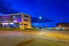 Urban scenery od Pruszcz Gdanski at dusk. PRUSZCZ GDANSKI, POLAND - JANUARY 1, 2018: Architecture of residential apartments in Pruszcz Gdanski at dusk, Poland Royalty Free Stock Photos