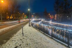Evening view with Radunia canal with Christmas decorative lights