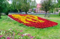 Pruszcz Gdanski, Poland - June 15, 2017: Flowers coat of arms of Pruszcz Gdanski. Flowers coat of arms of Pruszcz Gdanski Royalty Free Stock Image