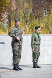 PRUSZCZ GDANSKI, POLAND - May 3, 2017: Polish soldier and boy-scout during celebrations of May 3rd Constitution in Pruszcz Gdanski. Polish soldier and boy-scout Royalty Free Stock Photo