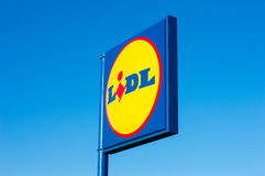 PRUSZCZ GDANSKI, POLAND - May 1, 2017: Sign of Lidl supermarket. Sign of Lidl supermarket on blue sky Stock Image