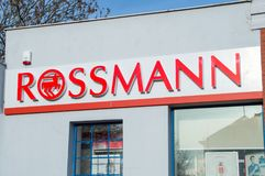 Rossmann logo and sign at cosmetics store. stock photography