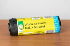 Auchan Black Garbage Bags On Wooden Table Editorial Stock Image