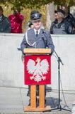 PRUSZCZ GDANSKI, POLEN - 3. Mai 2017: Feiern der vom 3. Mai Konstitution an John Paul II-Quadrat in Pruszcz Gdanski Stockbilder