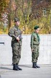 PRUSZCZ GDANSKI, POLEN - Maj 3, 2017: Polsk soldat och pojkscout under berömmar av den Maj 3rd konstitutionen i Pruszcz Gdanski Royaltyfri Foto