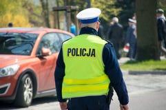 PRUSZCZ GDANSKI, POLEN - Mei 3, 2017: Politieagent bij vieringen van 3 de Grondwet van Mei Royalty-vrije Stock Foto's