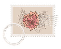 Prvector blank post stamp with rose Stock Image