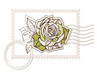 Prvector blank post stamp with rose Stock Photos