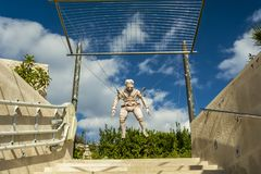 PRVIC, CROATIA - SEPTEMBER 29, 2017: monument of the  first para. Chute builder at the museum entrance inventor Faust Vrancic Royalty Free Stock Photos