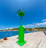 Prvic Luka green beacon Royalty Free Stock Photo