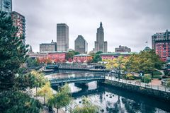 Prvidence rhode island skyline cityscape at fall royalty free stock photography