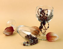 prydde med pärlor halsbandwineglasses Royaltyfri Foto